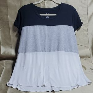 Maurices  24/7. Long blouse.  Short sleeves. Black